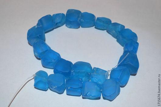 Для украшений ручной работы. Ярмарка Мастеров - ручная работа. Купить Аква кварц необработанный матовый, синий. Handmade. Синий