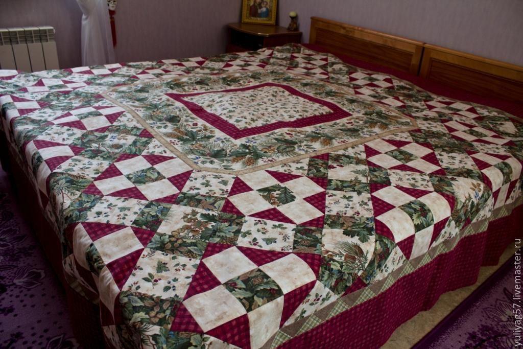 """Текстиль, ковры ручной работы. Ярмарка Мастеров - ручная работа. Купить Покрывало """"Природа"""". Handmade. Кровать, покрывало пэчворк"""