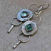 handmade. Livemaster - original item Long tourmaline earrings, silver and brass.. Handmade.