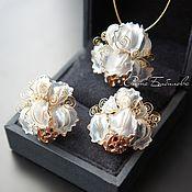 Украшения handmade. Livemaster - original item Unusual gift jewelry, stained glass earrings and pendant, Irises. Handmade.