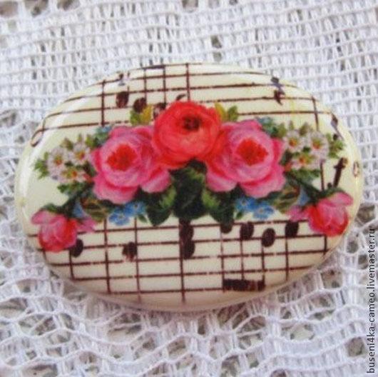 Для украшений ручной работы. Ярмарка Мастеров - ручная работа. Купить Кабошон Цветы №14 30х40мм, фарфор. Handmade. Камея