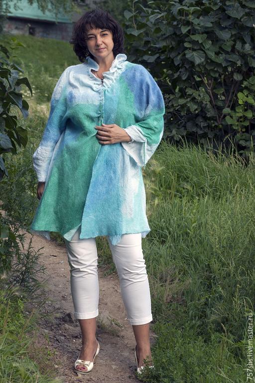 Верхняя одежда ручной работы. Ярмарка Мастеров - ручная работа. Купить Шазюбль летний. Handmade. Голубой, абстрактный, шерсть мериноса