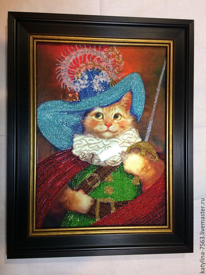 Картина кота из бисера