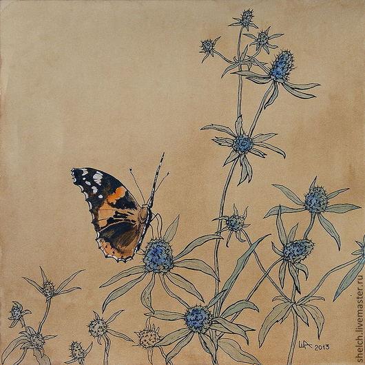 оригинальная картина ручной работы цветы бабочка графика графическая картина бабочка акварелью бабочка чернилами бабочка акварелью серия бабочки и цветы серия графика цветы растения насекомые