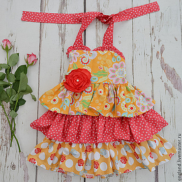 Работы для детей, ручной работы. Ярмарка Мастеров - ручная работа Платье сарафан для девочки с рюшами желтый красный Хлопок. Handmade.