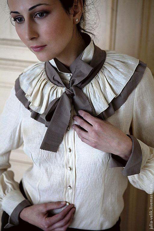 """Блузки ручной работы. Ярмарка Мастеров - ручная работа. Купить Блузка """"Козырная Дама"""". Handmade. Бежевый, блузка из шелка"""