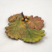 Посуда handmade. Livemaster - original item Autumn oak plate 15cm. Handmade.