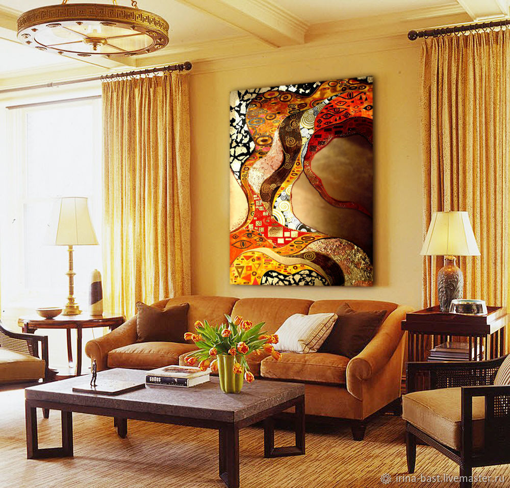 Interior painting in gold colors in the abstract style Klimt, Pictures, St. Petersburg,  Фото №1