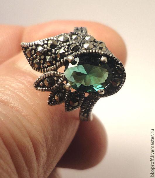 Кольца ручной работы. Ярмарка Мастеров - ручная работа. Купить Серебряное кольцо 925 пробы марказит хризолит Египет цветок. Handmade.