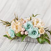 Украшения ручной работы. Ярмарка Мастеров - ручная работа Мятный цветок для волос, заколка для волос, свадебное украшение персик. Handmade.