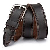 handmade. Livemaster - original item Percival leather belt (dark brown). Handmade.