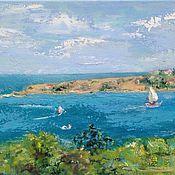 Картины и панно handmade. Livemaster - original item Oil painting view from the window. Oil on canvas blue. Handmade.