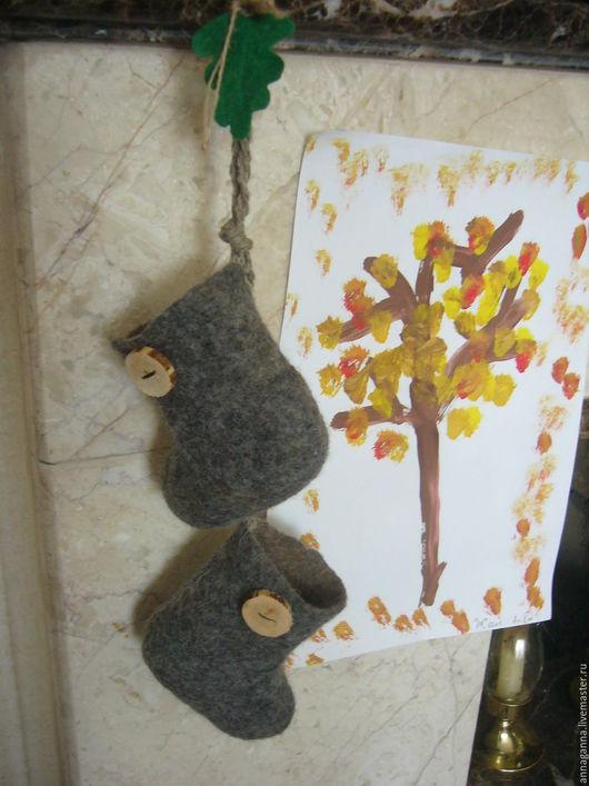 Новый год 2017 ручной работы. Ярмарка Мастеров - ручная работа. Купить валеночки лесовика. Handmade. Серый, авторская ручная работа