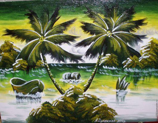 Пейзаж ручной работы. Ярмарка Мастеров - ручная работа. Купить Пальмовый остров. Handmade. Зеленый, пальмы, камни, трава, море