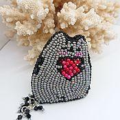 Украшения handmade. Livemaster - original item Brooch gray beads in Love cat.. Handmade.