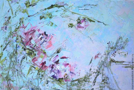 яркая сочная рельефная фактурная картина маслом с цветами абстрактный пейзаж