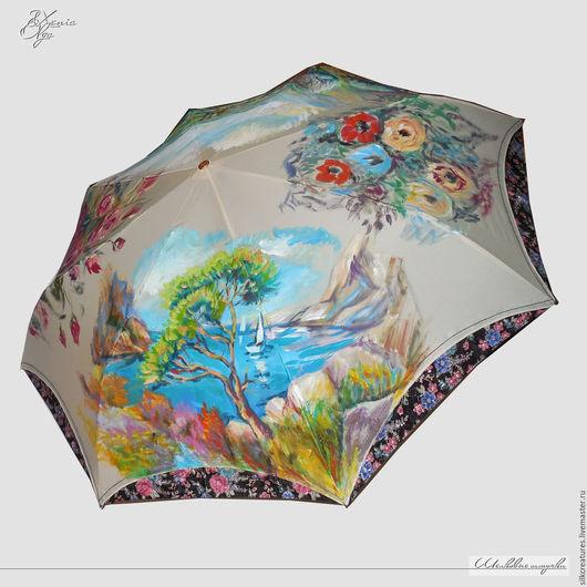 """Зонты ручной работы. Ярмарка Мастеров - ручная работа. Купить """"Впечатление. Impression"""" женской зонт с ручной росписью на заказ. Handmade."""