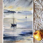 """Картины и панно ручной работы. Ярмарка Мастеров - ручная работа Картина акварелью """"Яхты в море"""". Handmade."""