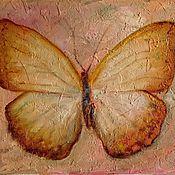 Картины и панно ручной работы. Ярмарка Мастеров - ручная работа Желтая бабочка авторская живопись (стиль фреска) подарок девушке. Handmade.