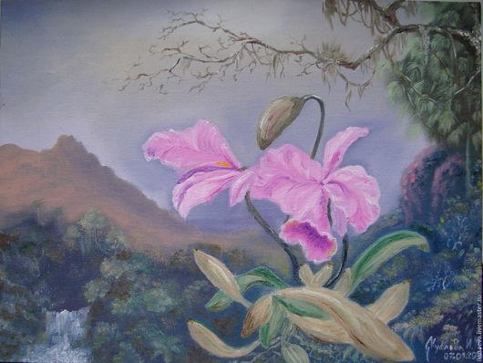Пейзаж ручной работы. Ярмарка Мастеров - ручная работа. Купить Орхидея (Свободная копия картины художника Мартина Джонсона Хеда). Handmade.