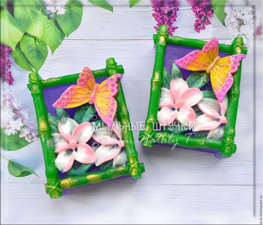 """Мыло ручной работы. Ярмарка Мастеров - ручная работа. Купить Мыло """"Бабочка с цветком"""". Handmade. Разноцветный, цветок, ухаживающие масла"""