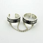 Украшения handmade. Livemaster - original item Double ring with chains of silver