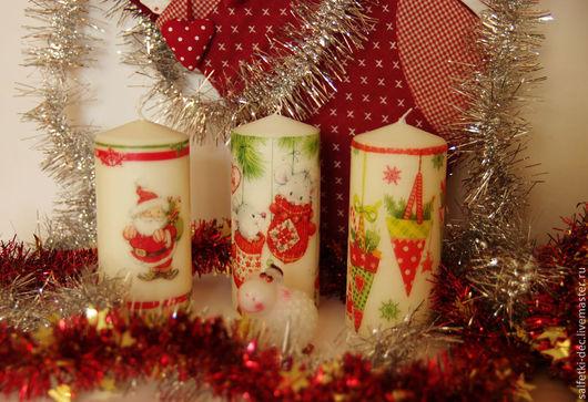 Новый год 2017 ручной работы. Ярмарка Мастеров - ручная работа. Купить Свечи новогодние 8 вариантов декорированные. Handmade. Свечи