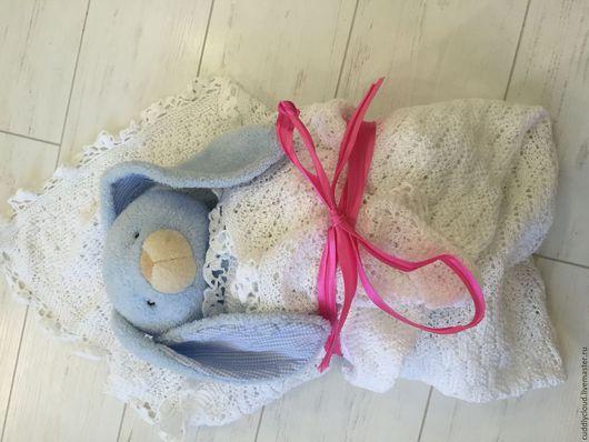 Для новорожденных, ручной работы. Ярмарка Мастеров - ручная работа. Купить Детское вязанное одеяло на выписку для новорождённых. Handmade. Белый