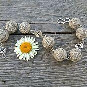 Украшения handmade. Livemaster - original item Bracelet Flax Glomeruli Boho Linen Grey Wire Easy Eco. Handmade.