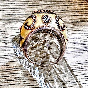 Украшения ручной работы. Ярмарка Мастеров - ручная работа кольцо 17,5 Луна эмаль  925. Handmade.