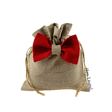 Souvenirs and gifts handmade. Livemaster - original item 13h15cm. Pouch made of natural linen with a red tie. Handmade.