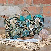 Для дома и интерьера ручной работы. Ярмарка Мастеров - ручная работа Сумка-корзинка для рукоделия # 5. Handmade.