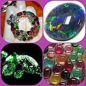 Украшения handmade. Livemaster - original item tamara pendant, opal black fire tourmaline emerald silver. Handmade.
