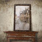 Картины и панно ручной работы. Ярмарка Мастеров - ручная работа картина акварелью Английская деревушка (в состаренном вручную багете). Handmade.