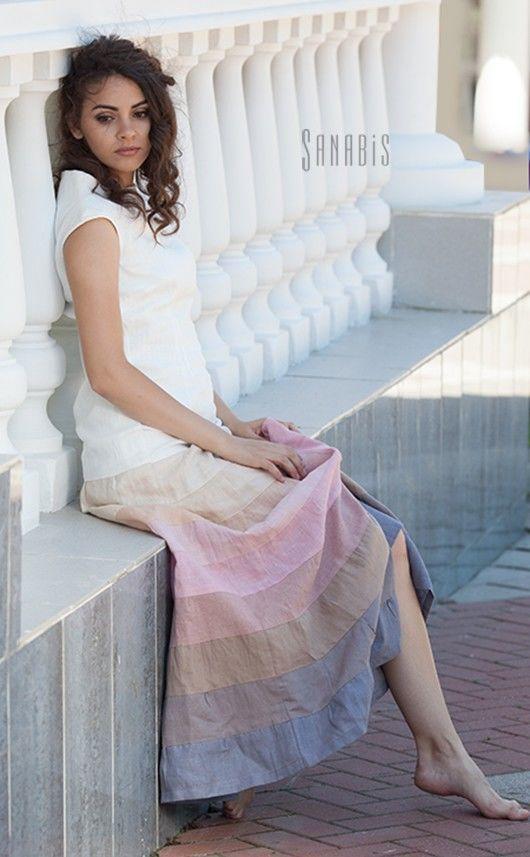 Платья ручной работы. Ярмарка Мастеров - ручная работа. Купить Вечернее льняное платье «Греция». Handmade. Белый, платье sanabis