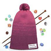 Аксессуары handmade. Livemaster - original item Knitted winter women`s cap (beanie) gradient double. Handmade.