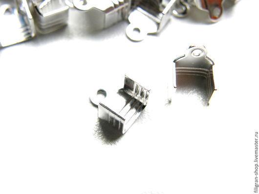 Для украшений ручной работы. Ярмарка Мастеров - ручная работа. Купить зажимы для лент, шнуров 7х5 мм, серебро. Handmade.