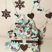 """Подарки к праздникам ручной работы. Ярмарка Мастеров - ручная работа """"Снеговики мята и шоколад"""" набор елочных украшений. Handmade."""