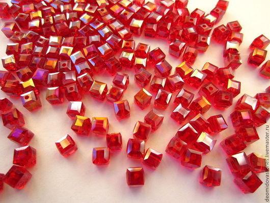 Для украшений ручной работы. Ярмарка Мастеров - ручная работа. Купить Хрусталь, граненые бусины, форма - куб, 5 мм грань, красный. Handmade.