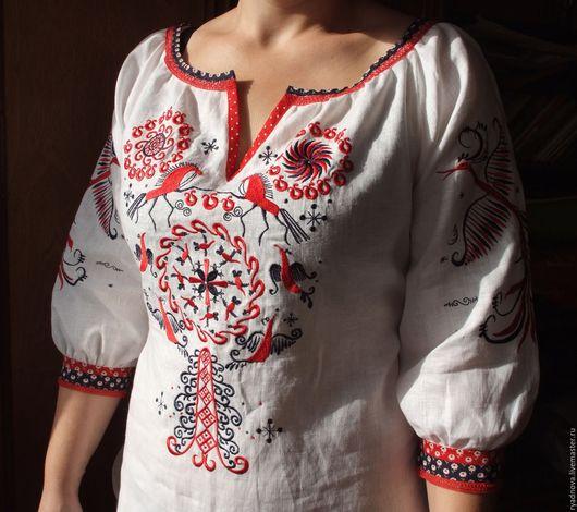 Одежда ручной работы. Ярмарка Мастеров - ручная работа. Купить Блуза Мезень весенняя. Handmade. Вышивка, Льняная рубаха