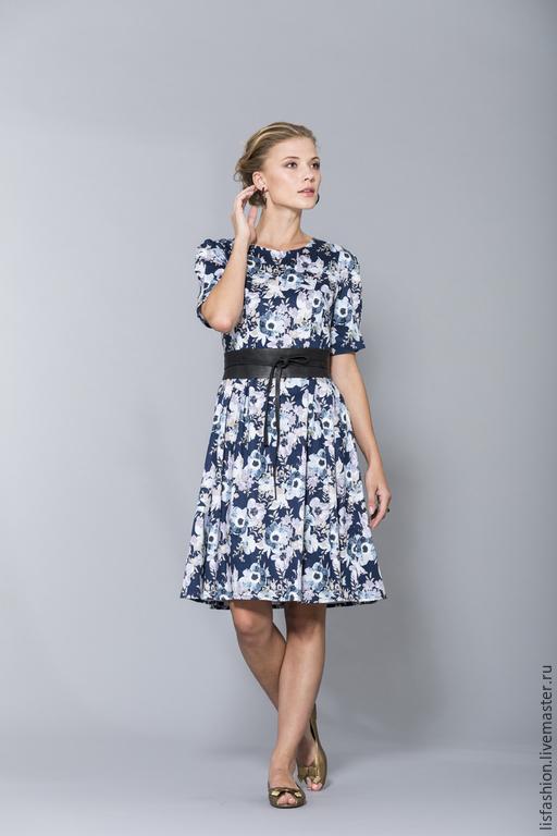 Платья ручной работы. Ярмарка Мастеров - ручная работа. Купить Платье 1518P. Handmade. Синий, хлопок 100%, платье коктейльное