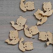 Материалы для творчества ручной работы. Ярмарка Мастеров - ручная работа Пуговица дерево натуральное Птичка, 237. Handmade.