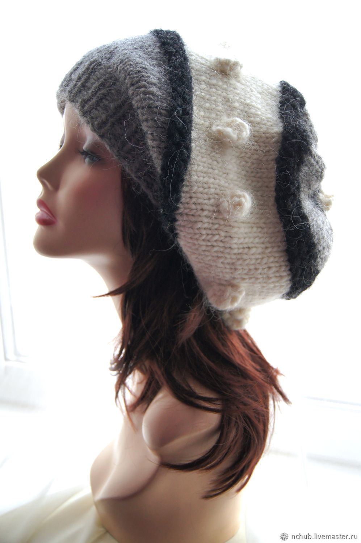 da28aa9868ee1 Berets handmade. Livemaster - handmade. Buy Takes boho knitted Gray-black-and  ...