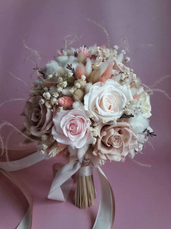 Свадебный букет в нежно пудровых оттенках из стабилизированных цветов, Свадебные букеты, Москва,  Фото №1