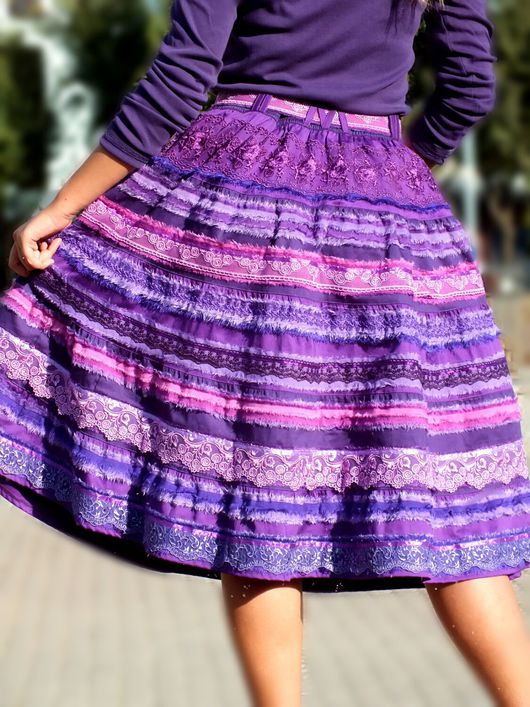 """Юбки ручной работы. Ярмарка Мастеров - ручная работа. Купить Бохо-юбка """"Магия лилового"""" для Ирины. Handmade. Бохо-стиль"""