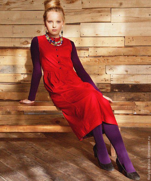 Платья ручной работы. Ярмарка Мастеров - ручная работа. Купить Платье со стоечкой - Красное горох. Handmade. В горошек