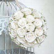 Свадебный салон handmade. Livemaster - original item Bridal bouquet of Bowl of roses. Flowers polymer clay handmade.. Handmade.