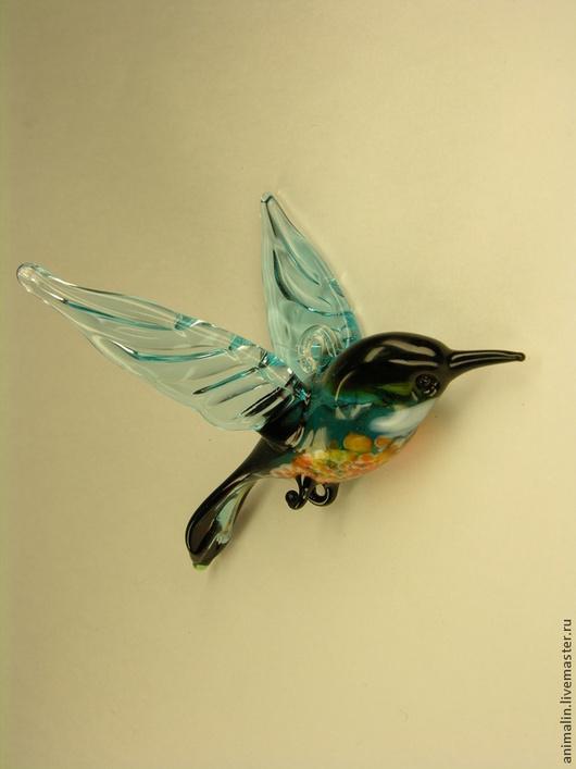 Новый год 2017 ручной работы. Ярмарка Мастеров - ручная работа. Купить Подвесная фигурка  из цветного стекла Птица Малиновка Vaarika. Handmade.