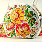 Сумки и аксессуары handmade. Livemaster - original item Leather embroidered bag with long handles White round women`s bag. Handmade.