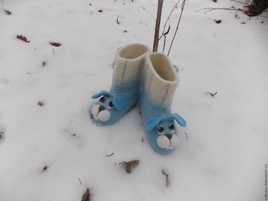 Обувь ручной работы. Ярмарка Мастеров - ручная работа. Купить Детские2. Handmade. Голубой, Валенки детские, шерсть 100%